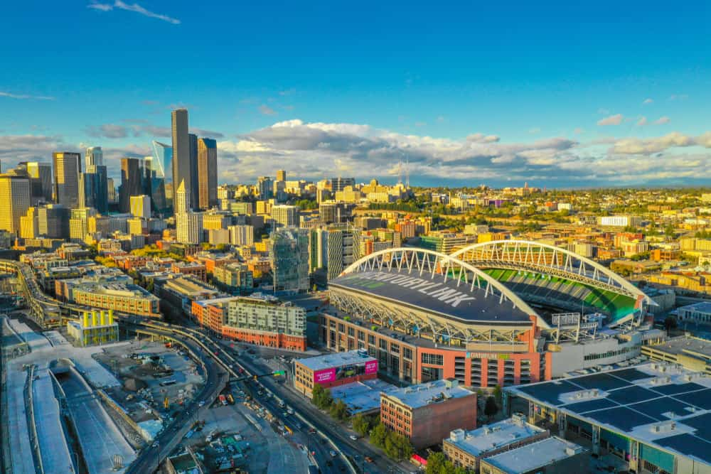 Aerial drone footage of Seattle Centurylink Field football and soccer