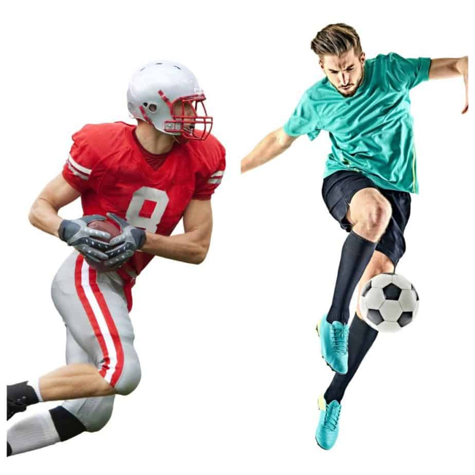 Football player (red) vs Soccer Player (green)