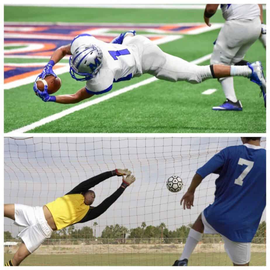Football touchdown vs. Soccer Goal