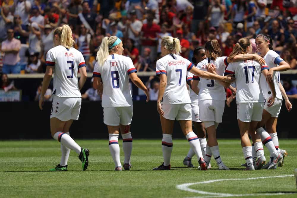 U.S. Women's National Soccer Team celebrates scoring goal during friendly game
