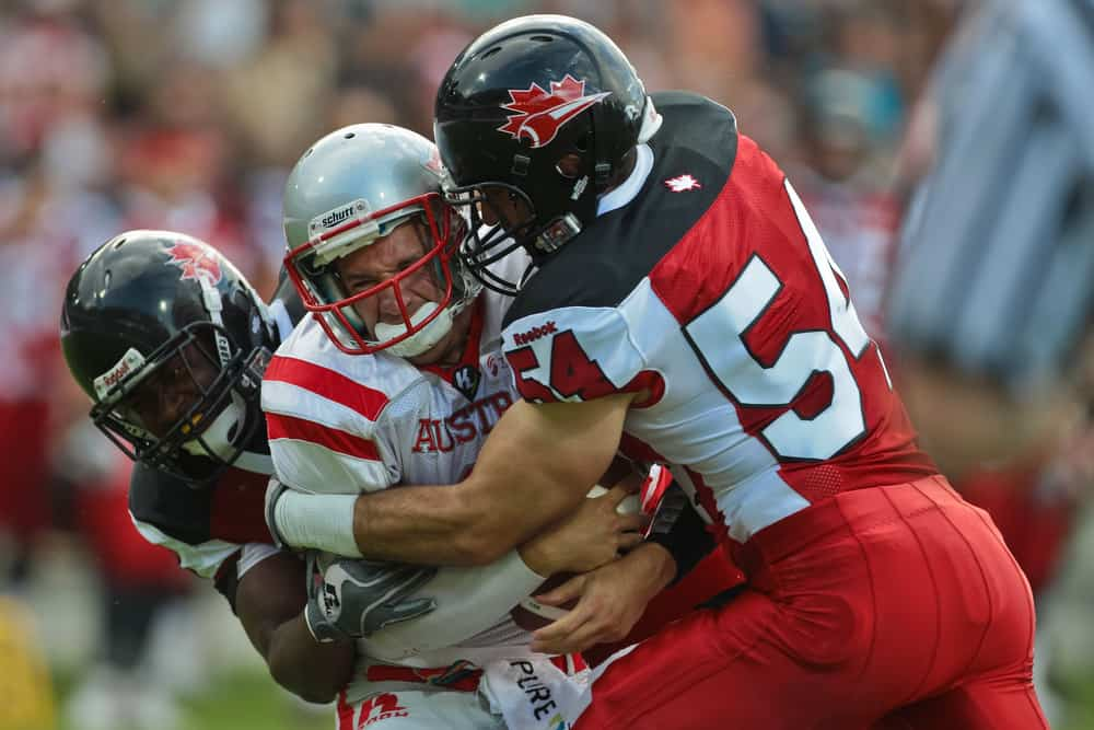 tackled by LB Anthony Maggiacomo at the (American) Football World Championship