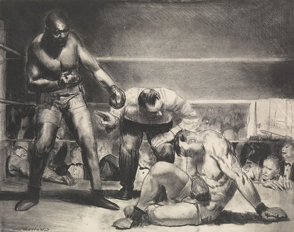 1920s, American print, World Heavyweight Champion whose opponent is knocked down