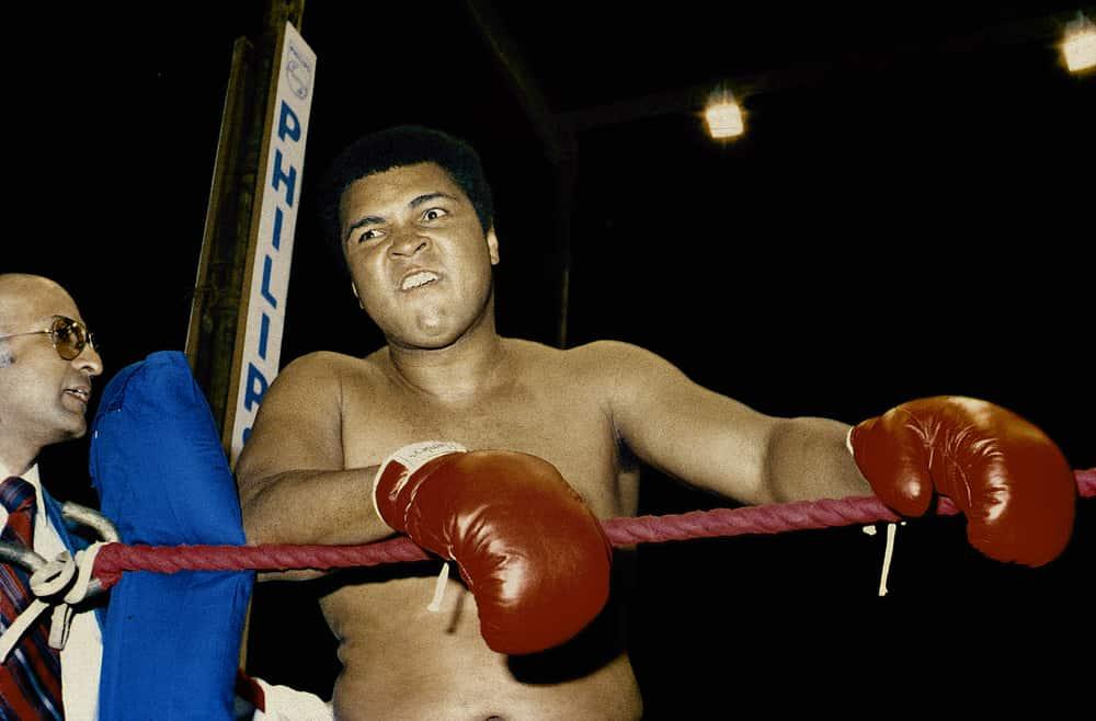 1975 Muhammad Ali clowning around during training