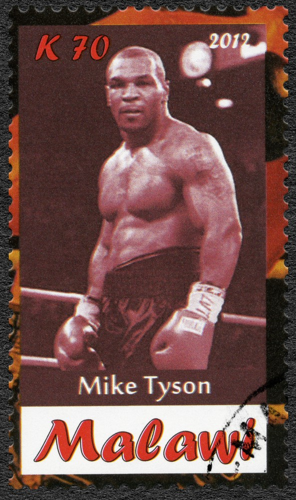 A stamp printed in Malawi shows Mike Tyson