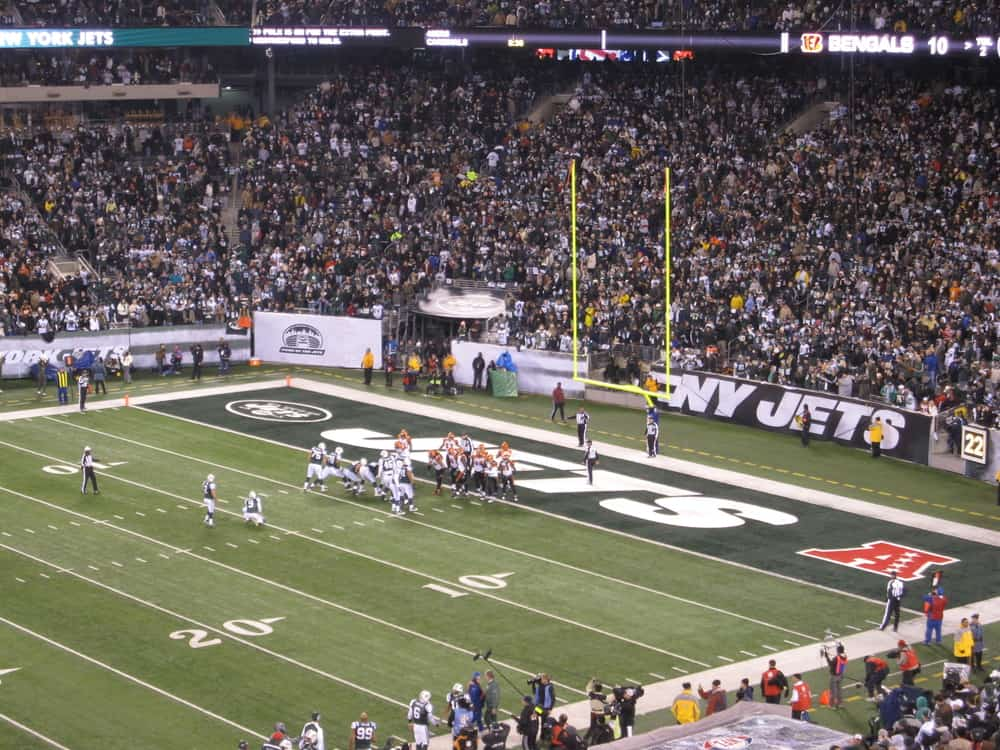 An NFL game between the New York Jets and the Cincinnati Bengals