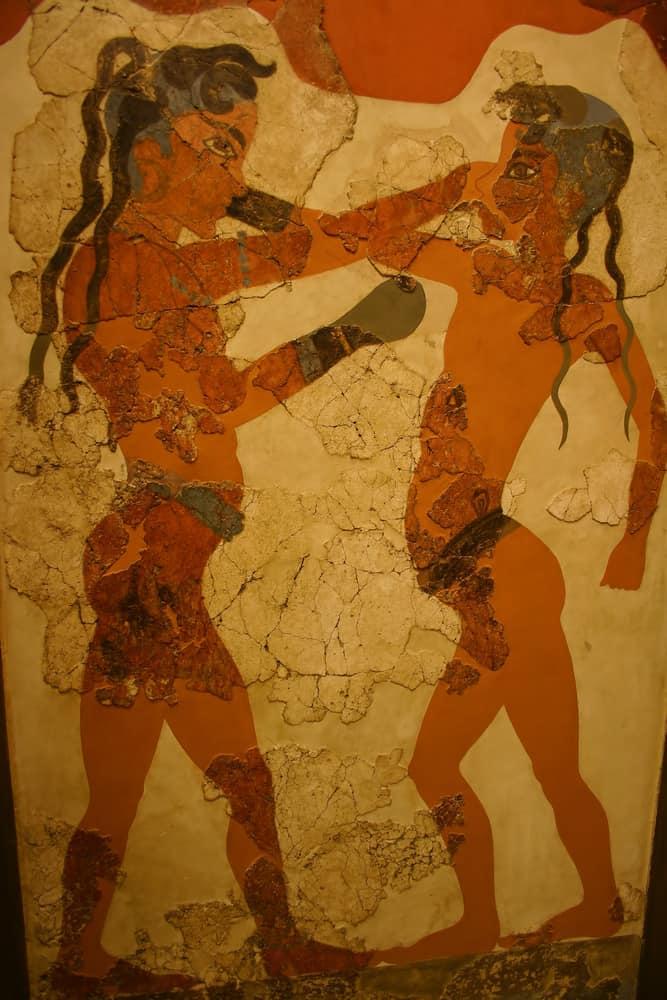 Ancient Minoan Fresco of Boys Boxing