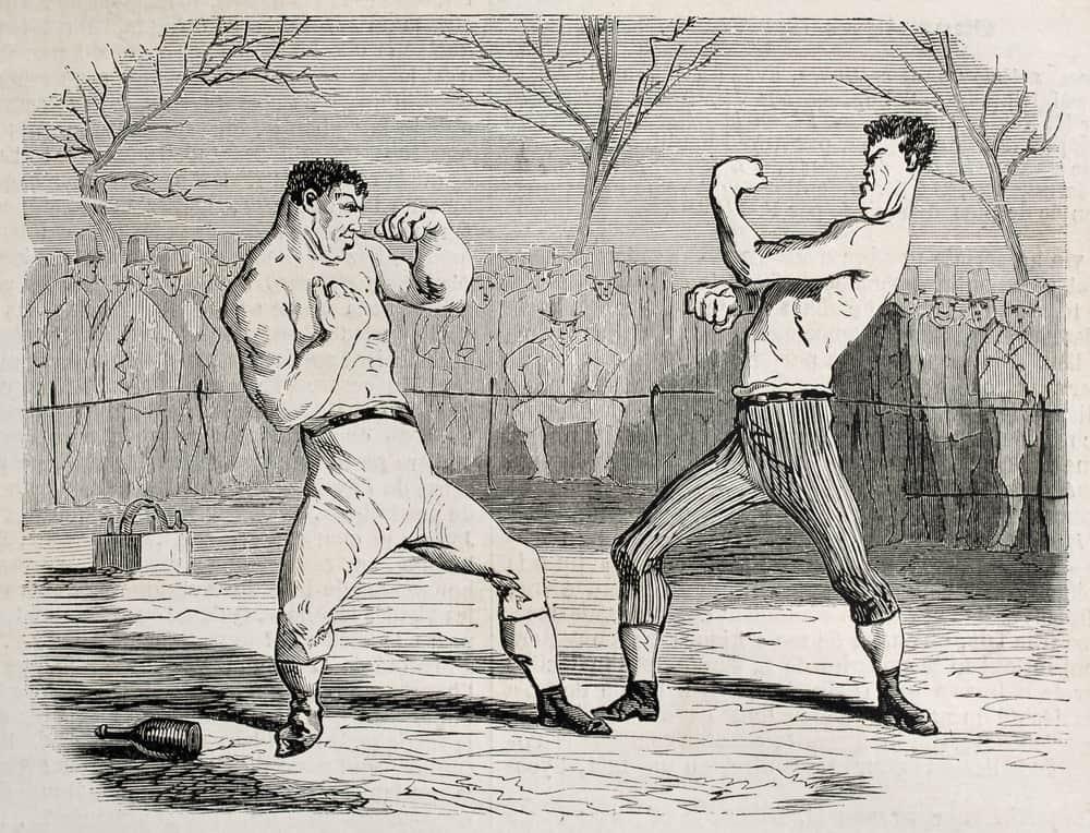 Antique humorous illustration of a boxing match, Paris, 1860