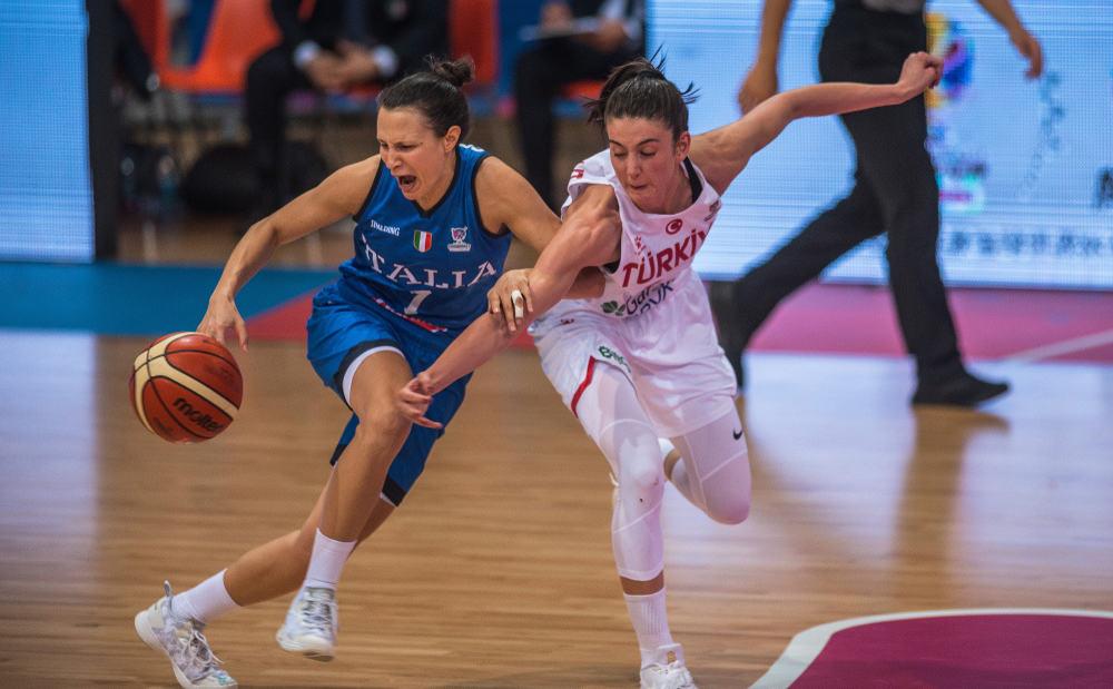 Italy Giorgia Sottana and Olcay Cakir from Turkey on the FIBA Women's Eurobasket