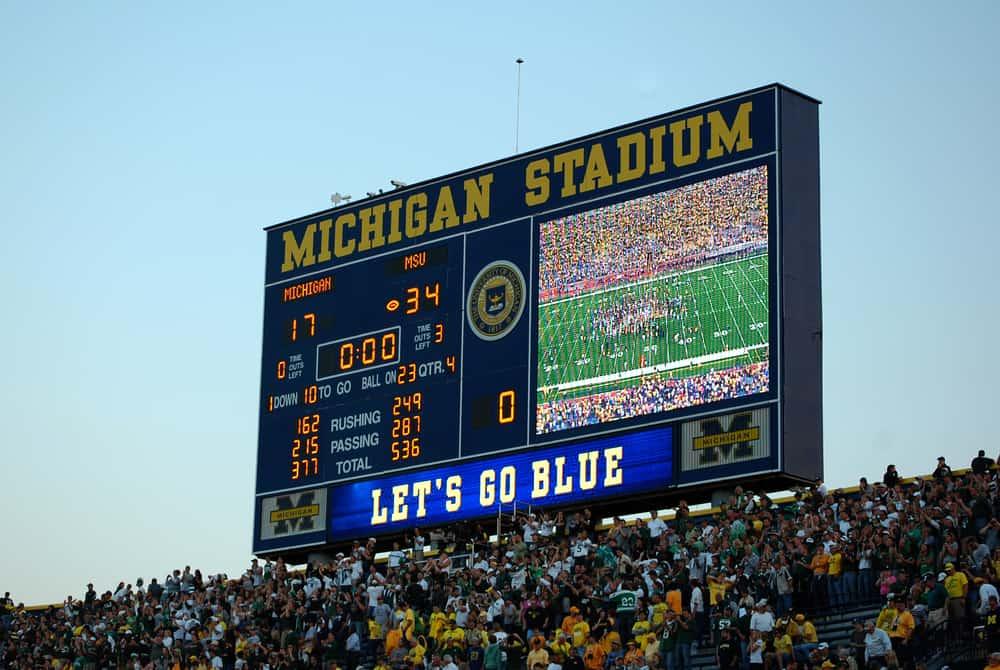 Scoreboard at the conclusion of the Michigan vs. Michigan State football game