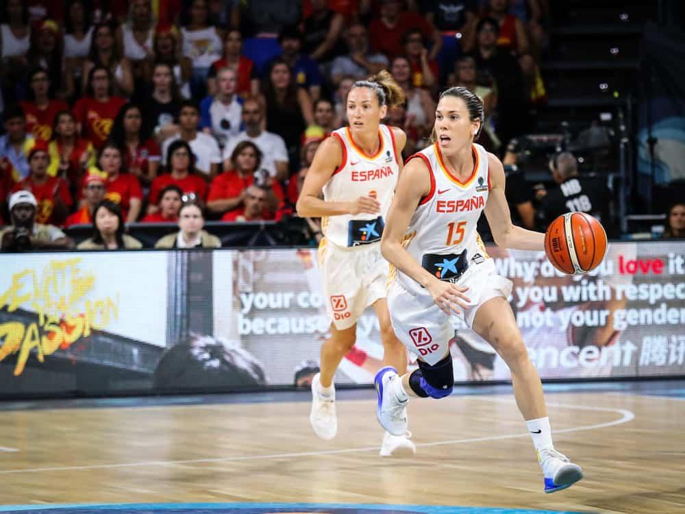 Spanish basketball player Anna Cruz in action during basketball match