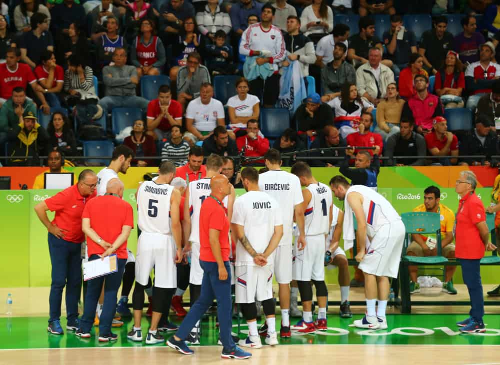 Team Serbia in action during group A basketball match of the Rio 2016 Olympic Games