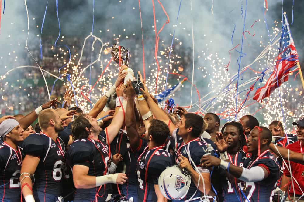 Team USA celebrates the victory at the Football World Championship