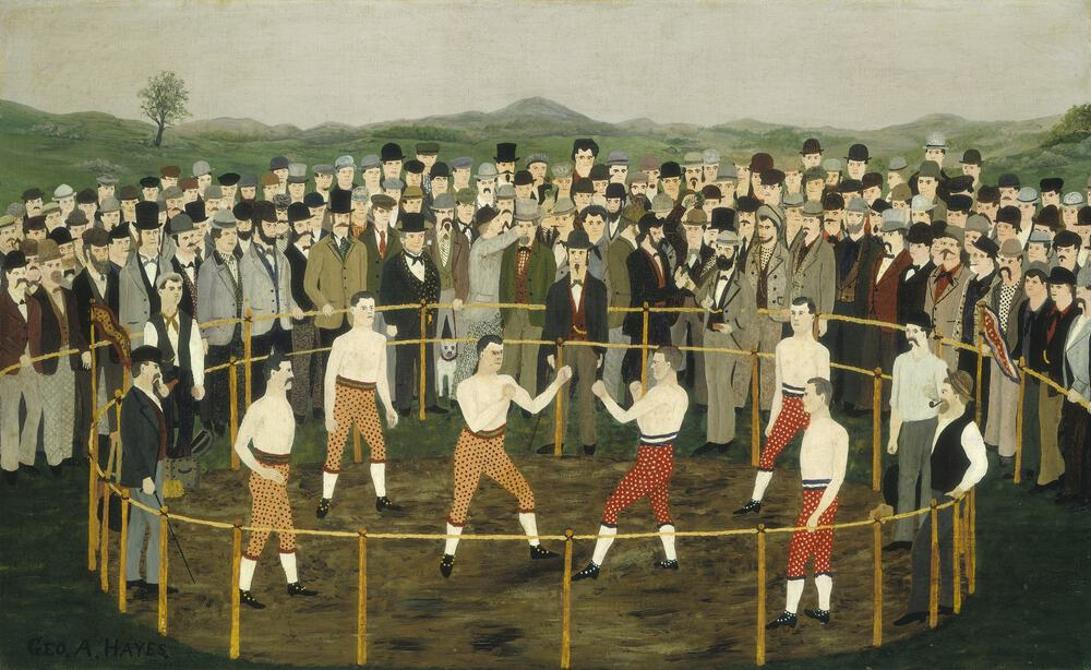 This painting probably commemorates a boxing match, which is dated by the style of cloth