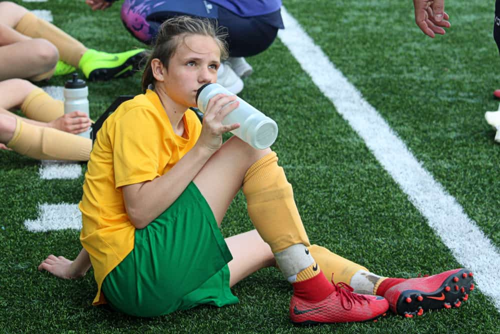 girl soccer player of MSK Zilina U15 team at the half time