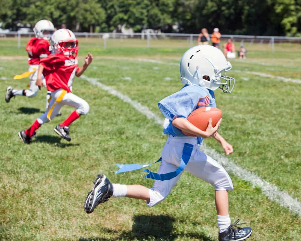 kids playing flag American football
