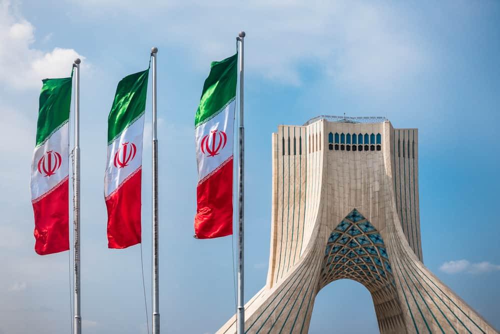 Azadi Tower with flasgs of Iran, Tehran, Iran taekwondo