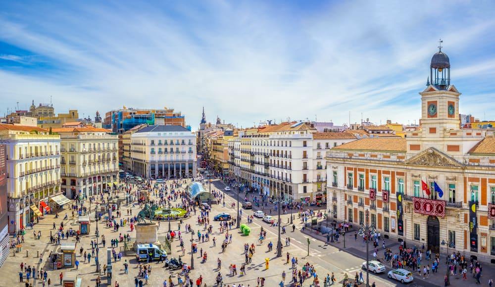 Puerta del Sol square is the main public space in Madrid taekwondo