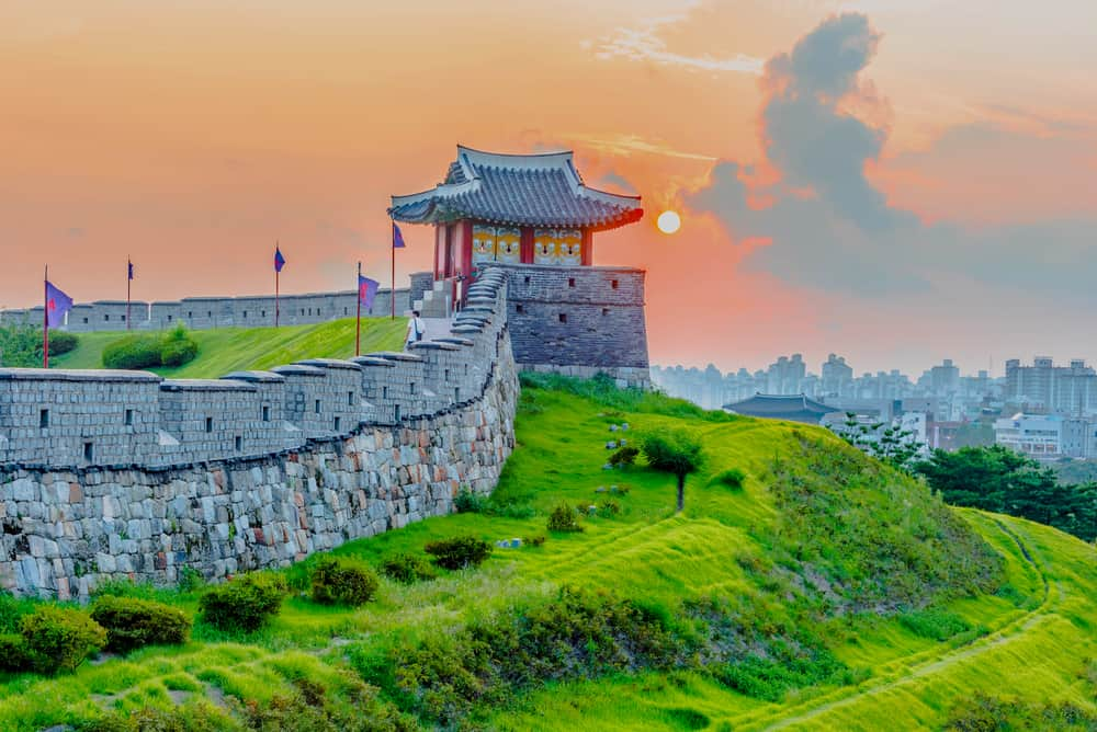 Sunset at Hwaseong Fortress. Seoul, South Korea