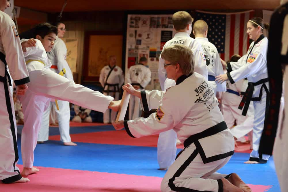 Tae Kwon Do students test for promotion