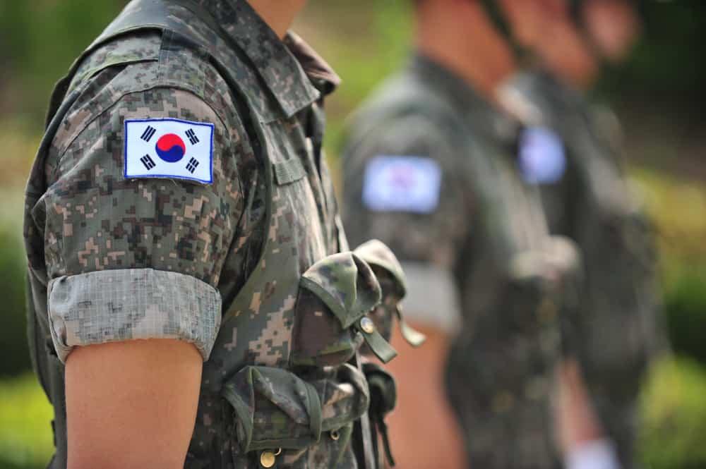The Korean national flags attached to Korean army uniforms taekwondo