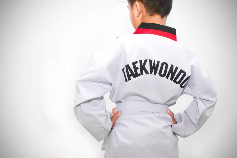 boy athletes martial taekwondo action