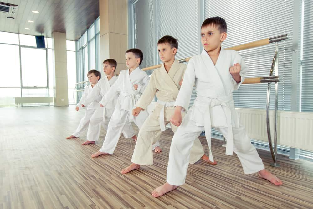 kids in taekwondo position