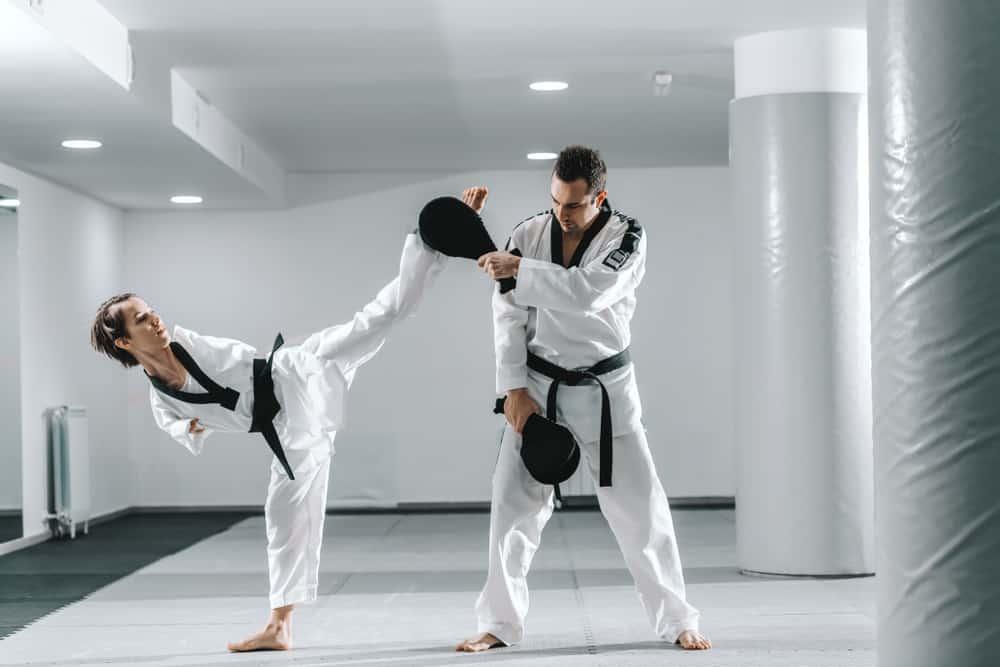 practicing taekwondo training